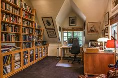 Attic office...I imagine our dormer windows would be this small or smaller.