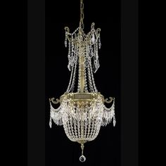 "Esperanza 18"" Crystal Mini Chandelier with 6 Lights - French Gold Finish and Swarovski Elements Crystal"