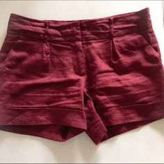 Shorts Loose fit. Light weight. Maroon colored shorts. 100% linen. Forever 21 Shorts