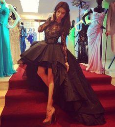 black high low prom dresses long sleeves