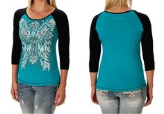 Liberty Wear Baseball Style Fleur de CrossTee  Women's baseball inspired fleur de cross shirt in a teal and black. 3/4 sleeve 2X, 3X made in the USA