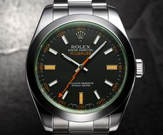 I don't particularly care for Rolex, because I tend to find them kind of clunky and fashion backwards... I'm straight I swear. However, as a scientist I put my full support behind the Rolex Milgauss. Maybe it's the nerdy, orange, lightning-boltesque second hand. Maybe it's the green crystal. Maybe it's that I can use it around an NMR (it's anti-magnetic up to 1000[mille] gauss ). In any case, at $7000 it's gonna have to stay in my dreams.