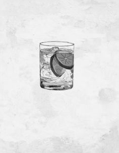 Gin Tonic by Lucía Dimango Cocktail Illustration, Illustration Art, Cocktails Drawing, Skin Candy, Sketchbook Project, Food Drawing, Gin And Tonic, Small Tattoos, Art Drawings