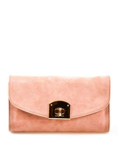 Sergio Rossi Solid Color Flap Suede Leather Clutch Made in Italy  ClutchBags #Handbags
