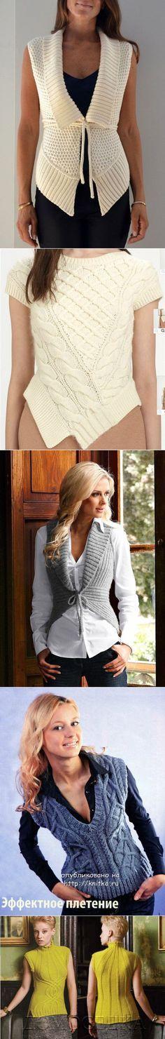 Подборка из 17 моделей вязаных безрукавок на knitka.ru | вязание для меня | Постила
