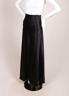 Black Silk Blend Full Length Skirt