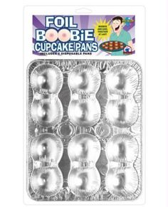 "Foil Boobie Disposable Cupcake Pans - Set of 2  $12.95  ""Bake your favorite cake with this disposable foil boobie cupcake pan. Great for bachelor parties, birthday parties, weddings, and bar mitvahs. Contains 2 dispoable boobie cupcake pans."""