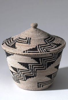 Africa   Contemporary basket with lid from the Tutsi   Plant fibre and plastic; coiled