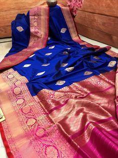 Medium Blue and Maroon Color Katan Banarasi Saree Blue Silk Saree, Wedding Silk Saree, Indian Silk Sarees, Pure Silk Sarees, Silk Saree Kanchipuram, Tussar Silk Saree, Set Saree, Saree Dress, Saree Color Combinations