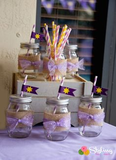 Tangled + Rapunzel Birthday Party via Kara's Party Ideas : Lovely Drink Jars