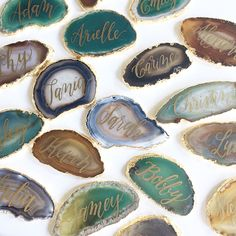 Agate slice calligraphy by Laura Hooper Calligraphy
