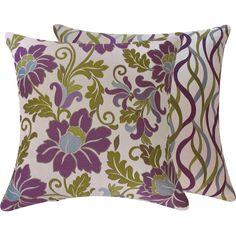 Decorative Pillow Cover X Floral With Stripes Purple - Purple decorative bedroom pillows