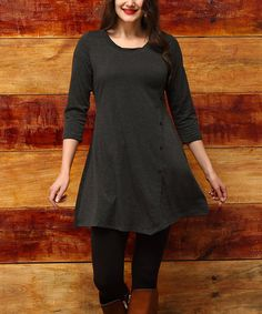 Look what I found on #zulily! Charcoal Side-Button Tunic - Plus #zulilyfinds