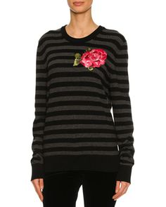 Striped Rose-Embroidered Virgin Wool Crewneck Sweater, Black/Gray