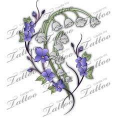 Marketplace Tattoo Lily of the Valley and Violets #3332 | CreateMyTattoo.com