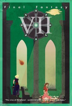 """Final Fantasy VII Vintage Poster. """"The cries of the planet - answered with vengeance and hope."""""""