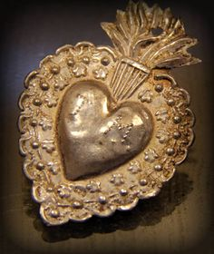 Beautiful Antique Silver Milagro Sacred Heart from South America
