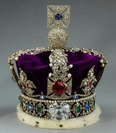 """British Imperial Crown - red stone in front is a spinel AKA Black Prince's """"Ruby"""""""