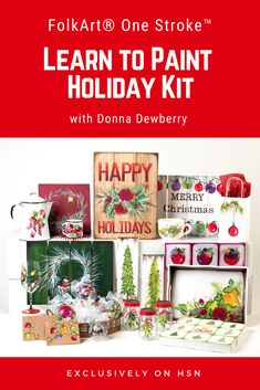 Donna Dewberry has all new FolkArt One Stroke kits on HSN. It includes this new Holiday Kit. Happy Merry Christmas, Christmas Holidays, Christmas Ideas, One Stroke Painting, Tole Painting, Donna Dewberry Painting, Learn To Paint, Acrylics, Watercolor