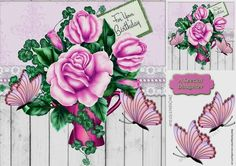 pretty pink butterflies with pink roses 8x8, with topper makes a pretty card, can be seen in other colours