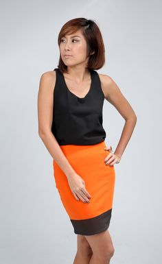 """Colour block skirt by Alice - An in-house design, in mustard and orange! Colour blocked with black, a perfect combination for work or play. Measurements: S: 12.5"""" Waist, 16"""" Hips, 18.5"""" Down. M: 14"""" Waist, 16.5"""" Hips, 18.5"""" Down. Model is 162cm/UK8, wears Alice size """"S"""". SGD $35 #mustard #colourblock #skirt #pencil #orange #black"""