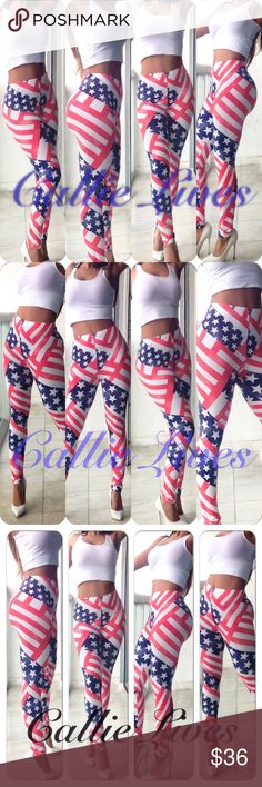 """Red White Blue Stars & Stripes Plus Size Leggings Tag Size: One Size Plus Fits: Large, 1XL, and up to 2X Measurements Laid Flat (Double for Minimum fit) Waist 13""""  Hips 20"""" Length 38"""" Inseam 27.5"""" These leggings should fit a Waist 36""""-44"""" and Hips 40""""-50"""".  I'm wearing this size in the photos. My waist is 30"""" and my hips are 42"""".  I weigh 155 lbs at 5'6"""". Just add a solid crop top, a Sheer tank or a cross body clutch from other listings by Callie Lives LaLaLand and you have a brand new…"""