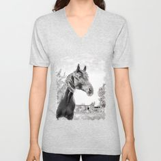 Horse in the Field. Black and White. Unisex V-Neck Watercolor Paintings, V Neck T Shirt, Horse, Unisex, Black And White, How To Wear, Shirts, Design, Women