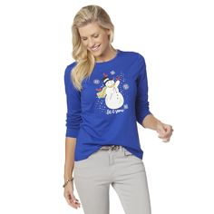 Holiday Editions Women's Long-Sleeve Christmas T-Shirt - Let it Snow