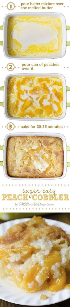 There are three reasons why this fantastic Peach Cobbler can become one of your . There are three reasons why this fantastic Peach Cobbler can become one of your favorite recipes – it's super tasty, super simple and super awesome. Peach Cobblers, How Sweet Eats, Chocolate Desserts, Easy Desserts, Southern Desserts, East Dessert Recipes, Breakfast Recipes, Sweet Recipes, Peach Recipes Easy