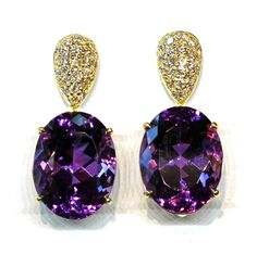 Diamond & Amethysts Earrings, Janet Deleuse Designer Jewelry, shop online deleuse.com