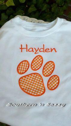 Orange Paw Appliqué with Monogram T Shirt by southernnsassy, $23.00 www.etsy.com/listing/95055852