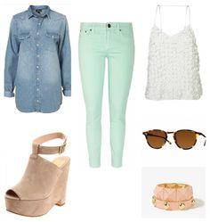 camisa mezclilla, jeans color menta, blusa blanca, gafas de sol, braceletes, wedge nude - outfit ideal para primavera