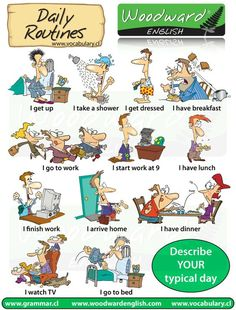 English vocabulary: Daily Routines Cartoon Vocabolario: la mia giornata:
