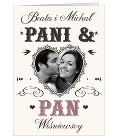Kartka ślubna w stylu retro ze zdjęciem Pary Młodej