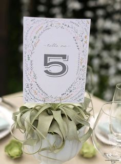 Pastel wedding table number - Downloaded