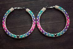 Native American Beaded Hoop Earrings by eleumne on Etsy, $50.00