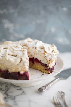 The Louise cake with plum & coconut from Yotam Ottolenghi & Helen Goh's Sweet Cookbook #recipe #baking #cakes