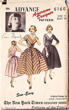 Fab Vtg 50's Advance American Designer Dress Pattern Ann Fogarty Bust 29 Deep V | eBay