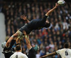 Julio Farias Cabello of Argentina reaches high for the ball in the line-out