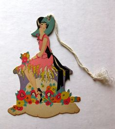 Deco Style Woman w Large Sun Hat and Flowers Bridge Tally available from bungalowblondie on eBay