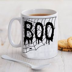 boo spider web special halloween mug by pureinfinity on Etsy