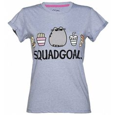 Women's Blue Marl Pusheen Squad Goals Rolled Sleeve T-Shirt ($19) ❤ liked on Polyvore featuring tops, t-shirts, blue top, roll sleeve t shirt, blue t shirt and blue tee
