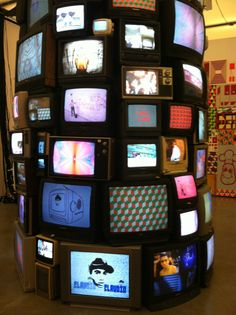 I took this photo of a bunch of TVs stacked atop each other on a beautiful night, last Thursday. This piece was one of my favorites from the Barry McGee exhibit at Boston's Institute of Contemporary Art.
