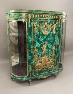 A Very Fine Early 20th Century Gilt Bronze Mounted Louis XVI Style Malachite Vitrine Cabinet