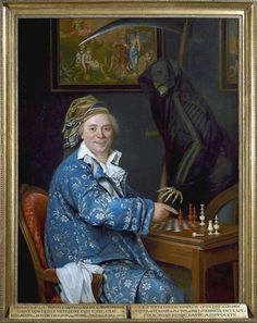 Remi-Fursy Descarsin (1747-1793) Portrait of Dr du C playing chess with death