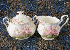 Royal Albert Blossom Time Cream And Sugar 1980s Pink Tree Blossoms Large English Bone China  #afternoontea #teatime #AntiquesAndTeacups