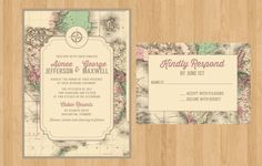 Printed or Printable PDF Vintage Map Invitation and RSVP | World Traveler | Rustic Wedding, Bridal Shower, Birthday, Rehearsal Dinner