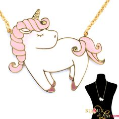 Bijoux de Lou - Large Pastel Unicorn with Pink Mane Necklace Brass Pendant, Pegasus, Mythical Creatures, Unicorns, My Little Pony, Plating, Gold Necklace, Hand Painted, Pink