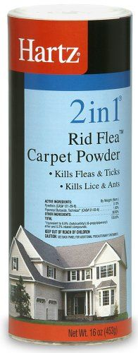 $5.49 Hartz Advanced Care 2 IN 1 Rid Flea Carpet Powder combines an insecticide with a carpet freshener to kill fleas, ticks, lice and ants. One container will treat 400 square feet and will also deodorize the carpet, it can also be used on pet bedding and furniture. Kills all stages of the flea life cycle including eggs. Breaks the flea life cycle and controls re-infestation for up to 365 days.
