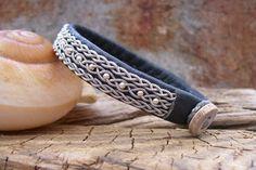 Slate Grey Sami Bracelet With Silver Beads,  Swedish Pewter Wire Jewelry. $65.00, via Etsy.